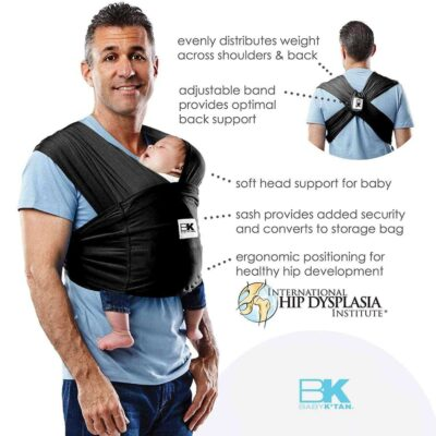 baby ktan breeze baby carrier in black on a dad