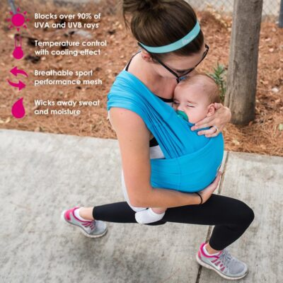 mother exercising in blue baby ktan active