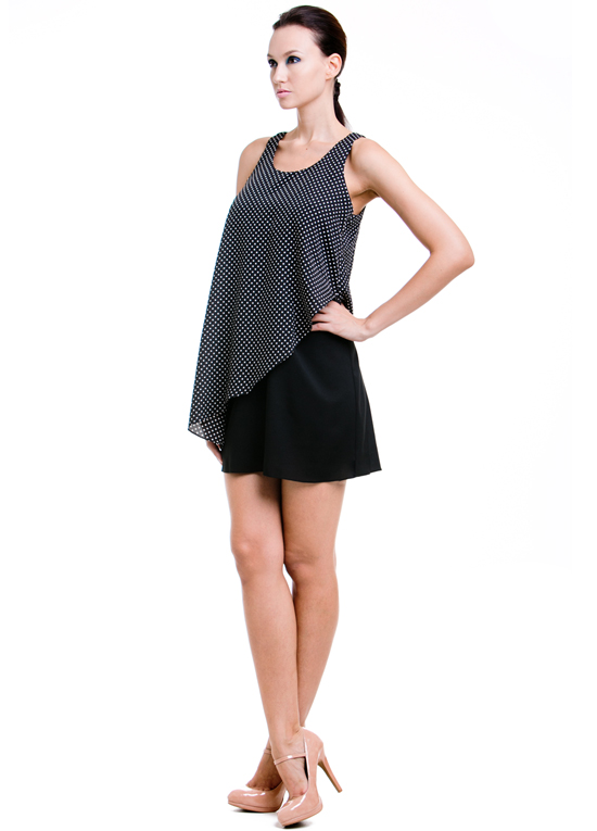 dote stacey breastfeeding dress two layers with black and white dotted overlay