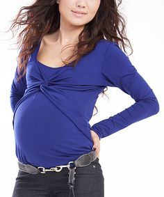 Egg Maternity Twist Nursing Top in royal blue