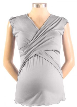Japanese Weekend Sleeveless Cross Front Maternity Nursing top clay colour