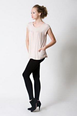 DOTE Lindsay Pocket Nursing Top in beige side view