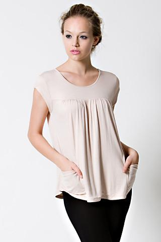 DOTE Lindsay Pocket Nursing Top in beige