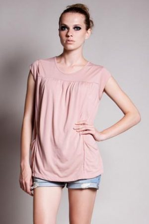 DOTE Lindsay Pocket Nursing Top in blush front view