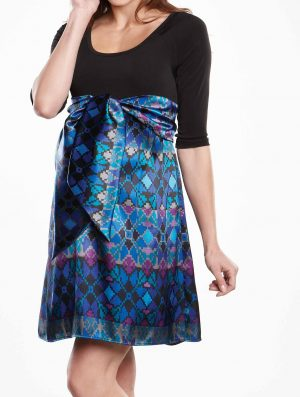 Maternal America Scoop Neck Front Tie Dress blue mosaic version
