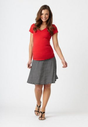 Pea in A Pod Striped Maternity Flip Skirt