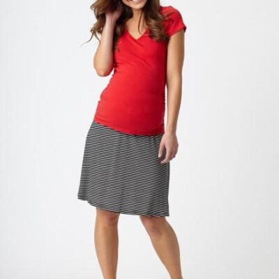 Pea in A Pod Maternity Flip Skirt worn with red top