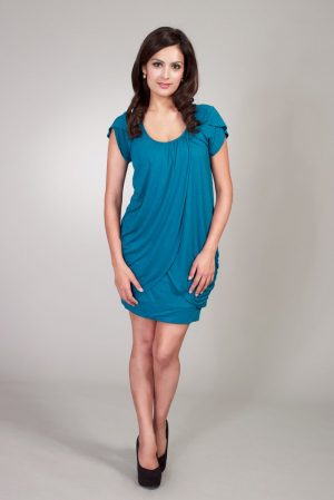Maternalove Petal Nursing Breastfeeding Dress in teal