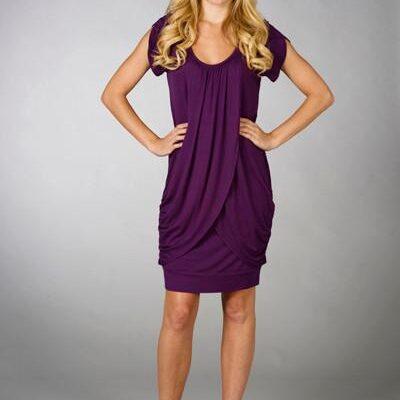 Maternalove Petal Nursing Breastfeeding Dress in purple