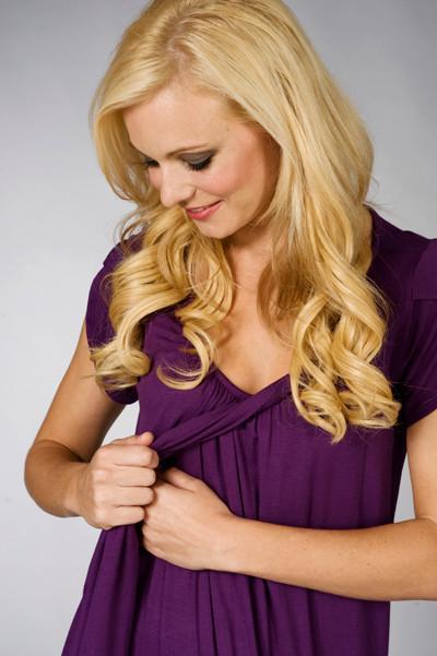 Maternalove Petal Nursing Breastfeeding Dress showing breastfeeding opening
