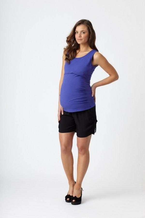 Pea in A Pod Tie Side Shorts shown with blue top