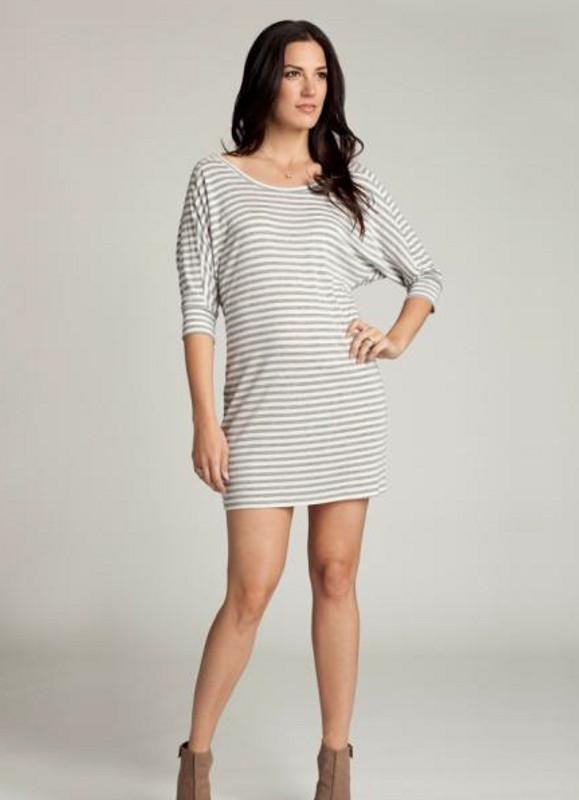 Ingrid & Isabel Dolman Maternity Dress grey and white stripes tshirt dress