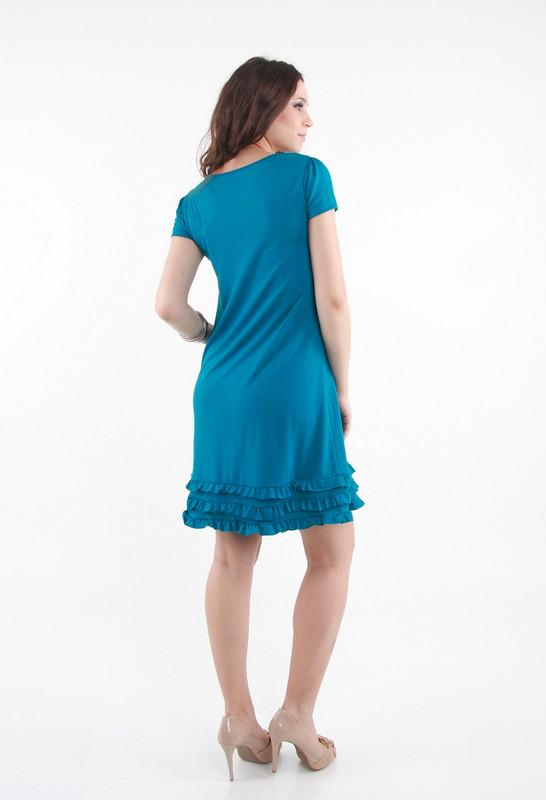 Annee Matthew Andre Ruffles Nursing Dress in teal back view