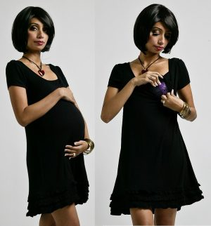 Annee Matthew Andre Ruffles Nursing Dress Black showing pregnancy and breastfeeding options