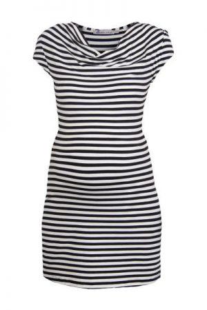 Queen Mum Black and white Stripe Cowl Neck Maternity Dress