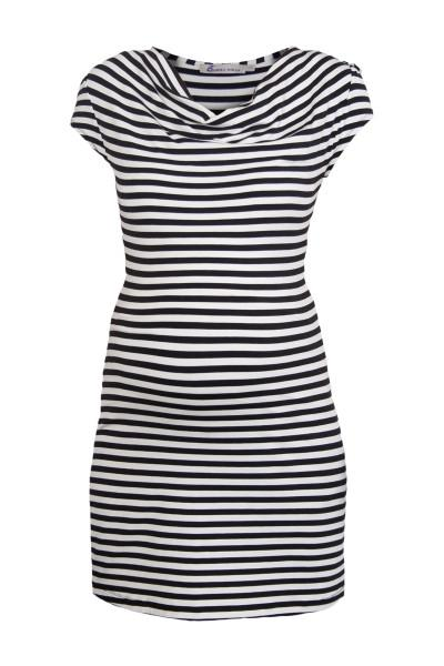 Queen Mum Black and white Stripe Cowl Neck Maternity Dress