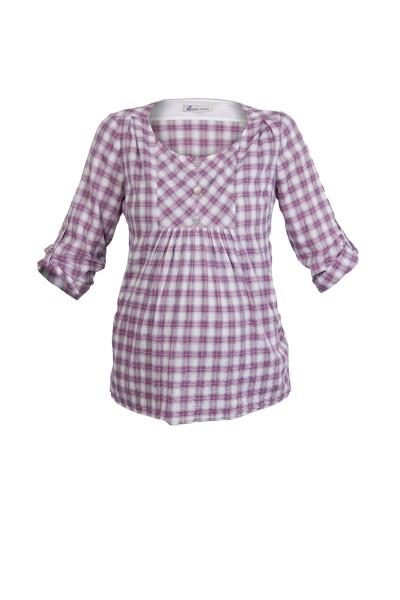Queen Mum Voile Check Maternity Blouse front view
