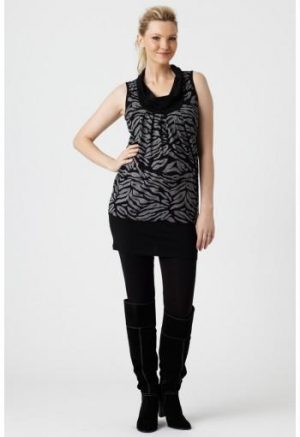 Pea in A Pod Cowl Neck Tunic shown with black pant and boots