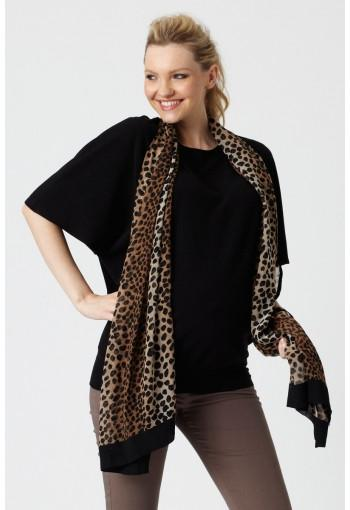Pea in A Pod Batwing Maternity Top close up with animal print scarf