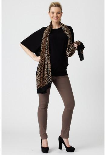 Pea in A Pod Batwing Maternity Top shown with animal print scarf