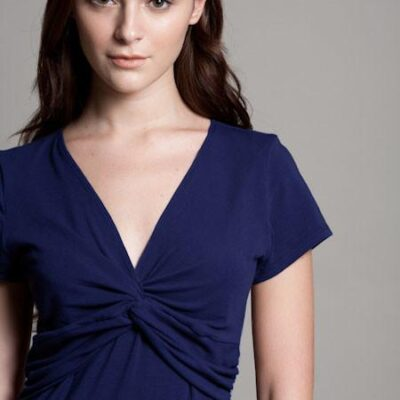 DOTE Knot Front Nursing Top in navy close up