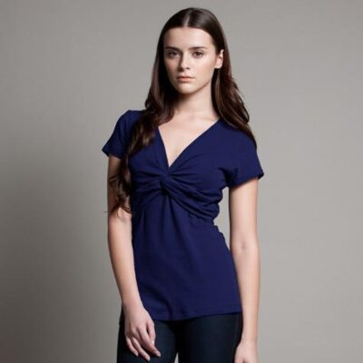 DOTE Knot Front Nursing Top in navy