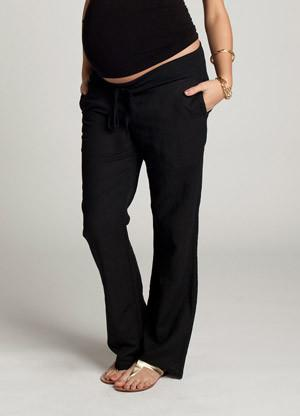 Ingrid & Isabel Linen Maternity Pants in black