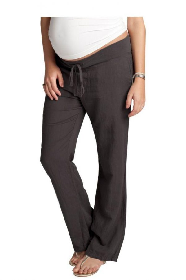 Ingrid & Isabel Linen Maternity Pants in grey