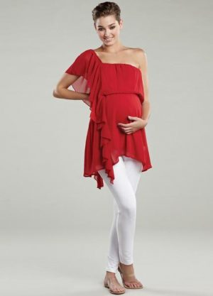 Maternal America Asymmetrical Ruffle Maternity Top