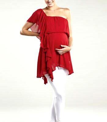 Maternal America Asymmetrical Ruffle Maternity Top