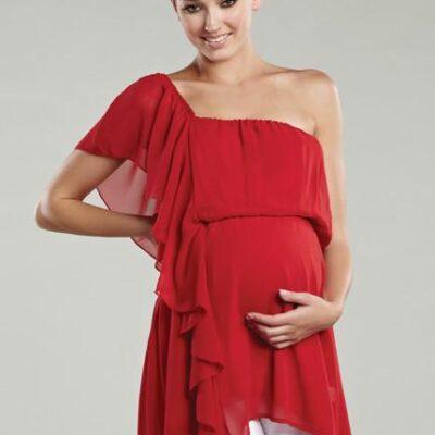 Maternal America Asymmetrical Ruffle Maternity Top close up