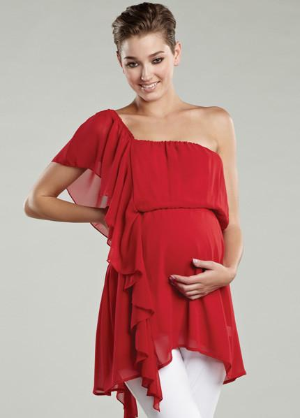 Maternal America Asymmetrical Ruffle Maternity Top close up