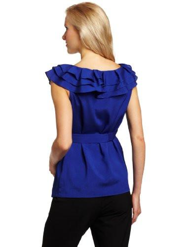Maternal America Layered Ruffle Neck Maternity Top back view