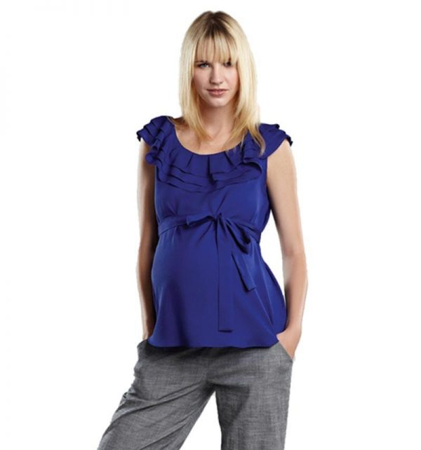 Maternal America Layered Ruffle Neck Maternity Top front view