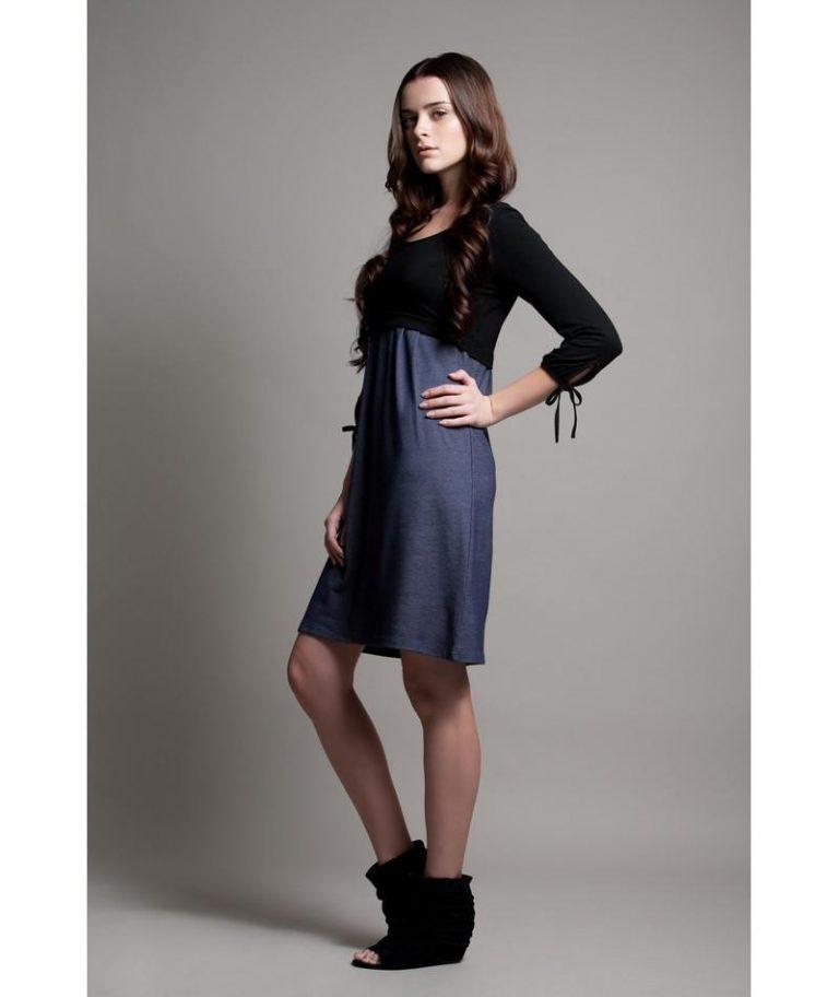 Patti Nursing Dress in Black & Denim by Dote