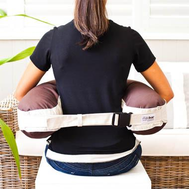 Milkbar Twin Portable Nursing Pillow attached to a mum