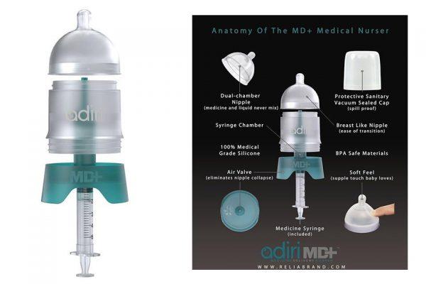 the antomy of an Adiri MD+ Nurser Medicine Dispensing Bottle