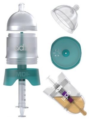 display of how the Adiri MD+ Nurser Medicine Dispensing Bottle works
