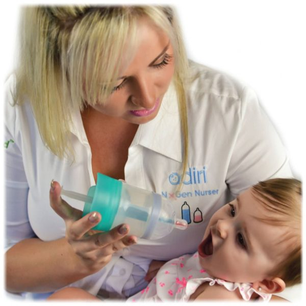 mum using the Adiri MD+ Nurser Medicine Dispenser on her baby