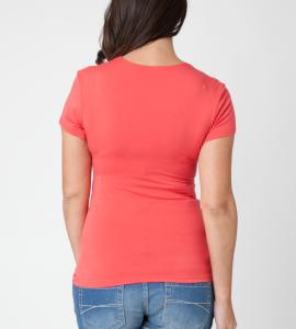 pregnant model wearing salmon basic Ripe Maternity Embrace maternity nursing top back view