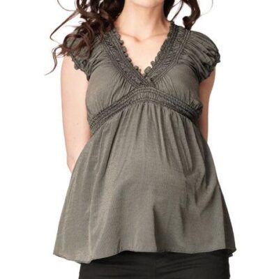 Pregnant model wearing Soon Jess Gathered Maternity Nursing Top in black and gold