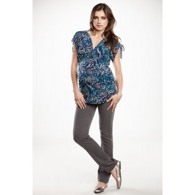 Maternal America Lace Sleeve Kimono Maternity Top in blue cheetah print