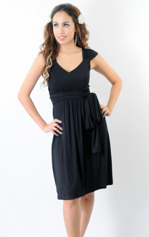Annee Matthew Ivana Tie Maternity Nursing Dress front view in Black