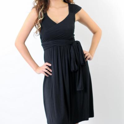 Annee Matthew Ivana Tie Maternity Nursing Dress front view in Black