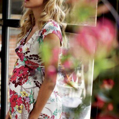 Queen Mum Floral Print Wrap Maternity Dress