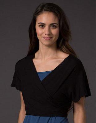 Laila & Spot Waterfall Bolero in black wrapped