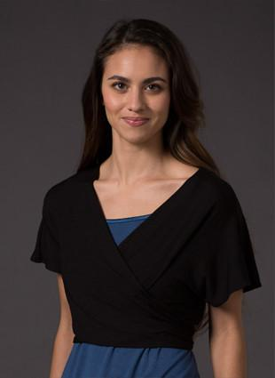 Laila & Spot Waterfall Bolero in black wrapped