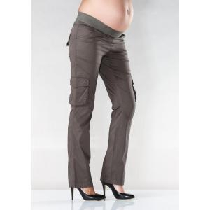 Model wearing Soon Band Cargo Maternity Pants in khaki