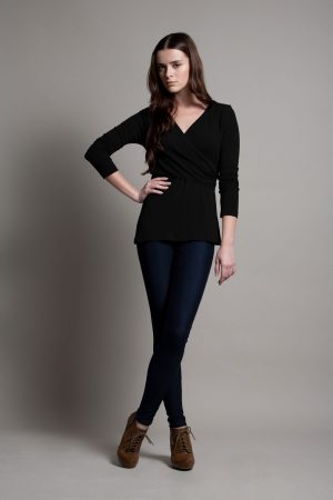 Dote Crossover wrap nursing top black front full length view