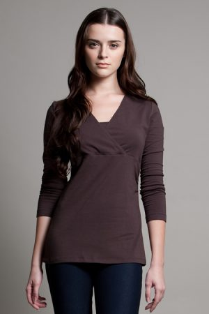 Dote crossover nursing tee brown
